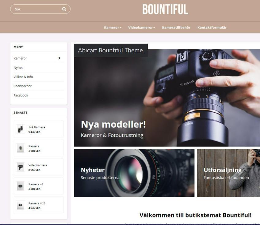 Abicarts plattform för webbshopar